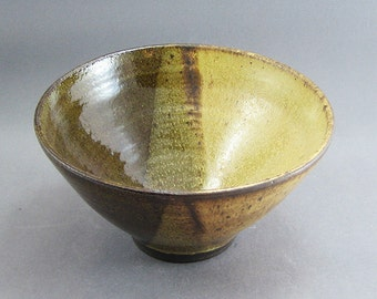 Pottery Medium Bowl Yellow Salt & Tenmoku FF06