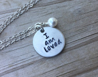 """I Am Loved Inspiration Necklace- """"I am loved"""" with and accent bead in your choice of colors-  hand stamped jewelry"""