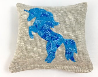 Scented Sachet with Unicorn Applique in Linen - Balsam Fir or Lavender Linen Sachet with Magical Mystical Blue Unicorn Applique