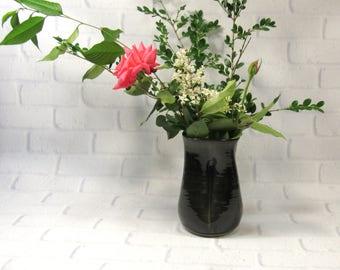 Ceramic Flower Vase - Accent Piece - Brown Vase - Pottery Vase - Mantelpiece Decor - Decorative Vase - Utensil Holder - Kitchen Organization