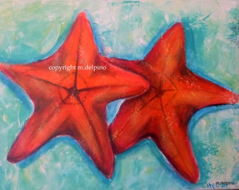 lg Starfish, original painting, nautical seashore beach house art, palette knife texture on canvas FREE SHIPPING