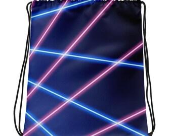 80s Clothing Neon Laser Drawstring Backpack Women Retro 80s Vintage Rainbow Vaporwave Aesthetic Festival Clothing Rave Clothing Burning Man