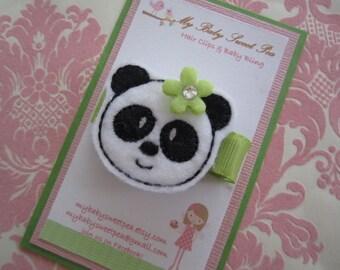 Girl barrettes - hair clips for girls - panda hair clips - no slip hair clips