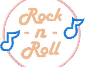 Embroidery Design Applique Rock n Roll Record
