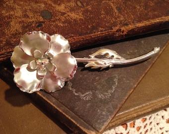 Vintage Stemmed Flower Brooch