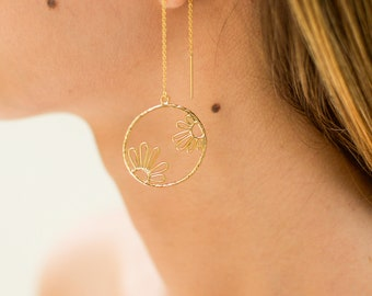 Dainty Threader Earrings | Flower Earrings | Long Golf Threaders | Gold Hoop Threaders | Gold Threader Earrings | Simple Earring
