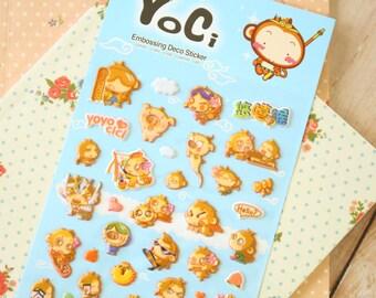 Yoci Monkey cartoon puffy stickers