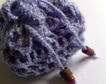 Purple drawstring crocheted lined purse with wooden beads