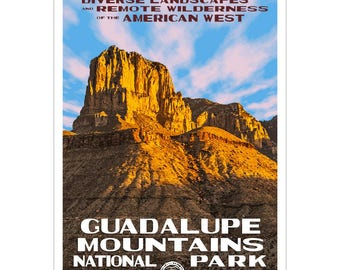 "Guadalupe Mountains National Park WPA style poster. 13"" x 19"" Original artwork, signed by the artist. FREE SHIPPING!"