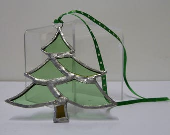 Stained Glass Christmas Tree Hanging Suncatcher Decoration