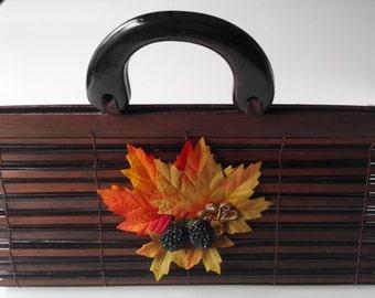 "Handbag Torebka handbag ""Autumn Beginning"" Soutache Sutasz leaf Liść leaf autumn Jesień Autumn bamboo bamboo brown Brązowy Brown"