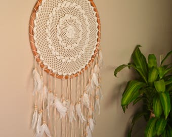 Large Bamboo and Feather Dream Catcher