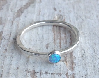 Blue Opal Stacking Ring, Sterling Silver Ring, Lab Created Opal, Stacking Ring, Slim Ring, Hammered Texture, Handmade Ring ***UK FREEPOST***