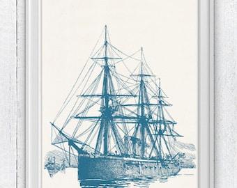Old frigate in blue - Coastal house wall decor - sea life print- vintage illustration NTC020