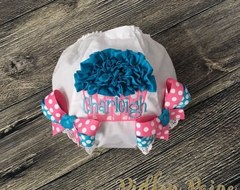 Birthday Cupcake Diaper Cover, Personalize Birthday Bloomer, First Birthday Cake Smash, Baby Girl 1st Birthday Bloomer, Hot Pink Turquoise,