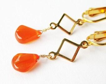 Orange Carnelian Teardrop Clip-on Earrings, Gold Ear Clips, Geometric Dangle Clip On Earrings, Bright Orange Gemstone, Handmade, Flame