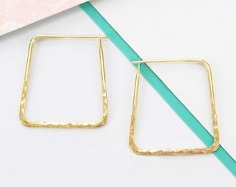 Gold Hoop Earrings, Geometric Earrings, Hoop Earrings, Statement Earrings, Everyday Earrings, Hammered Earrings, Square Earrings, Gifts, 925