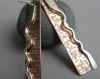 Copper earrings/Hammered Mixed Metal Earrings/ Copper Hammered Earrings/ Artisan Earrings/ Long Copper earrings/ Contemporary Earrings