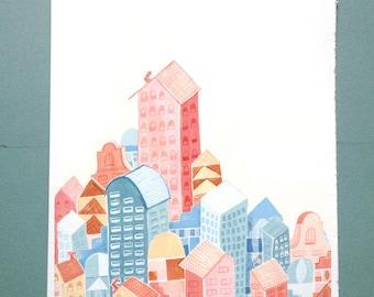 City Architecture Illustration Print