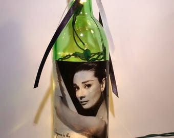 Audrey Hepburn 750 ml. lighted Wine Bottle