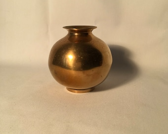 Vintage brass orb vase