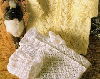 Baby Knitting Pattern pdf Lacy Matinee Jackets