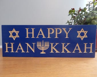Happy Hanukkah Holiday Carved Painted blue Sign