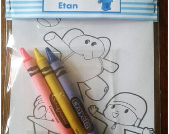 10set custom pocoyo inspired birthday party favor bags with coloring designs and crayons/pocoyo birthday party favors/pocoyo party theme