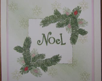 """Pack of two handmade 7x7 Christmas cards - """"Season's Greetings"""" & """" Noel"""" For family or friends"""