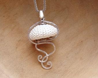 Sea Urchin Jellyfish Necklace, Mermaid Beach Jewelry