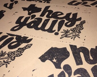 HEY Y'ALL, Texas - Lincout Print on Kraft Brown Stonehenge Paper