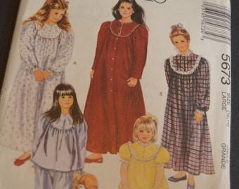 McCalls 5673 CHildren and Girls Sleepwear Sewing Pattern - UNCUT - Size Large (12-14)