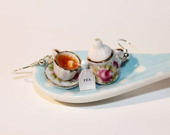 Tea Party Earrings - Lemon Tea Earrings - Miniature Tea Party - Miniature Food Earrings - Kawaii Jewelry