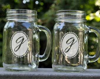 Personalized Mason Jar Mug with Oval Monogram Glass Mug