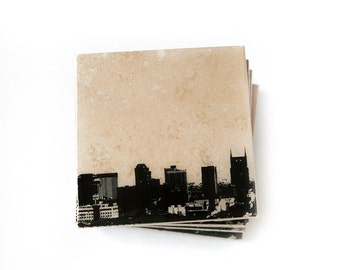Nashville Skyline Coaster Set (4 Stone Coasters, Black & White) Cityscape Home Decor