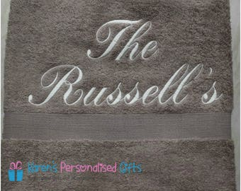 Personalised Truffle Towel, Luxury Personalised Embroidered Towels 600gsm Hand/Bath/Sheet.