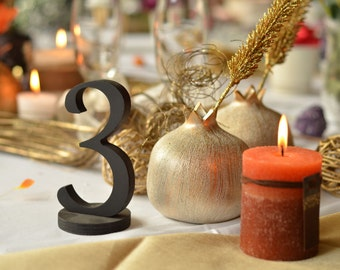 wooden table numbers, wedding table decoration