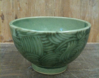 Small Wheel Thrown Pottery bowl in transparent green and Japanese wave pattern 18 oz