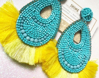 Handcrafted beaded earrings with tassels