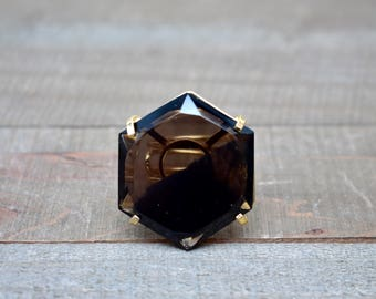 Asteria/// Large Smoky Quartz Hexagon Gold Adjustable Statement Ring/ Brown Smoky Quartz Crystal Mineral Gem Gemstone Stone (EP-RHS10-SQ)