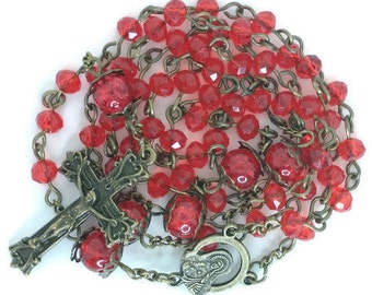Blood Red Crystal Rosary