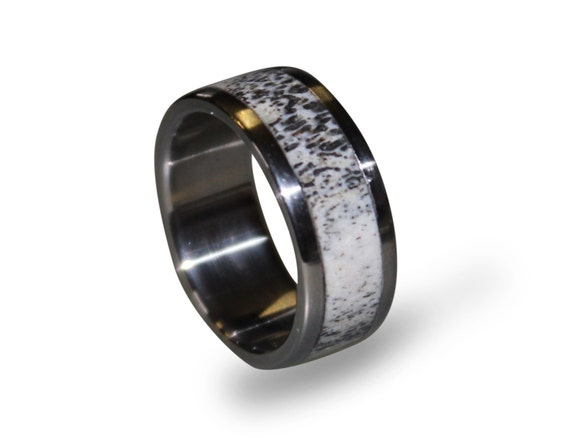 wedding photo wood ring mens and oak band marvelous inlay inlays of rings antler deer titanium x