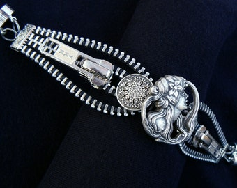 Silver Steampunk Maiden Button Zipper Cuff Bracelet