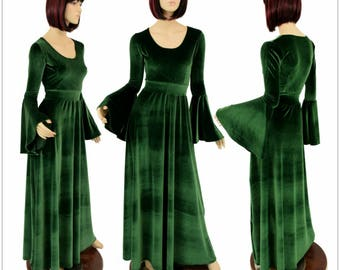 """Green Stretch Velvet Renaissance """"Fiona"""" Gown with Gypsy Sleeves and Scoop Neckline.  Made To Order -  154782"""