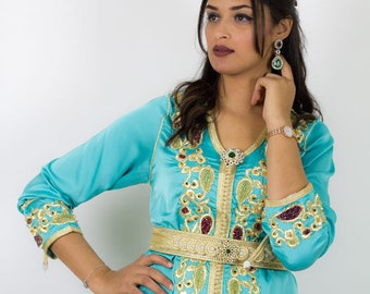 Watery green caftan, embroidery and beads with perfect belt for a Moroccan wedding or engagement gold thread work