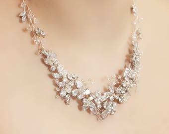 Statement Bridal Silver Rhinestone, Freshwater Pearl, and Swarovski Crystal Wedding Necklace