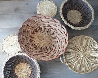 Boho Woven Basket Wall Decor Set  of 6 - set of wall baskets
