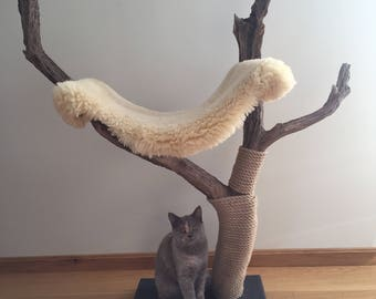 Meowjestic cat tree and scratcher with sheep skin hammock