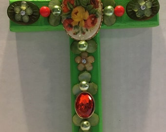 Unique Vintage Jewelry Beaded Wood Wall Cross