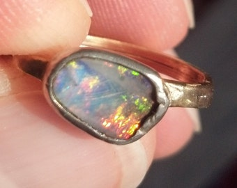 14kt Gold Ring Band with Sterling Silver Bezel and a Hand Cut Australian Boulder Opal